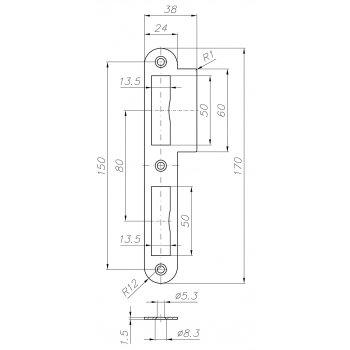 Zaczep płaski zamka wpuszczanego 170x38 SN