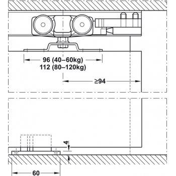 System Slido Classic 80kg z 1ABS Montaż kątownik