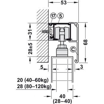System Slido Classic 80kg bez ABS Montaż niewidoczny