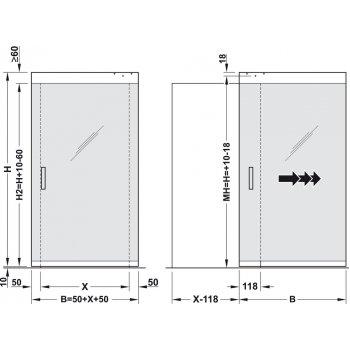 System Magic 2 do drzwi szklanych Szer. 1100mm