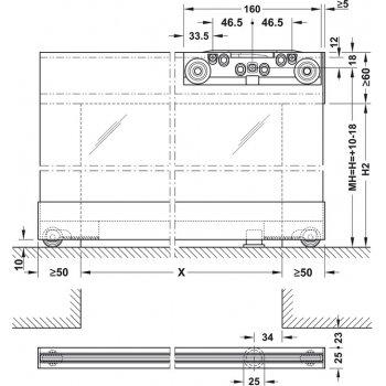 System Magic 2 do drzwi szklanych Szer. 1800mm