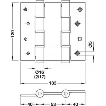 Zawias wahadłowy 120x2,5mm Stal nierdzewna