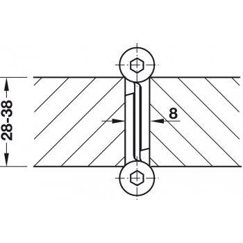 Zawias wahadłowy 120x4mm Aluminiowy