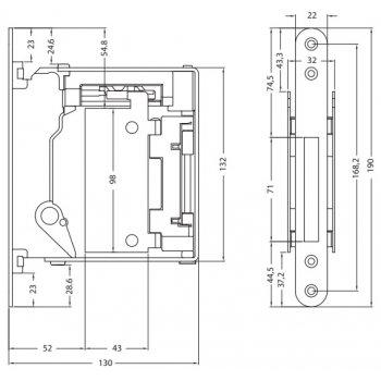 Zamek magnetyczny B-NO-HA z płytką otwierającą