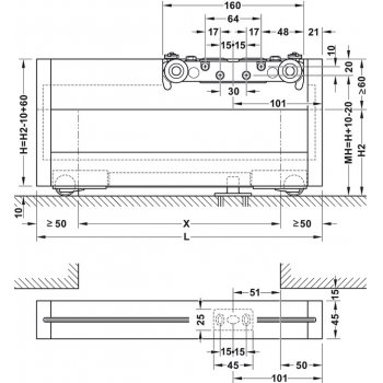 System Magic2 Frame do drzwi szklanych Szer.1100mm Srebrny